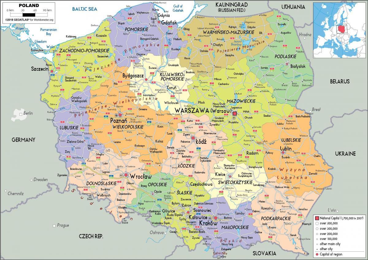 Mapa de Polonia y los países vecinos Imprimible mapa de